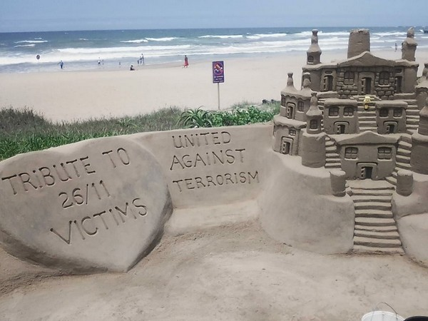 A sand tribute in Durban, South Africa, honouring victims of 26/11 Mumbai attacks.