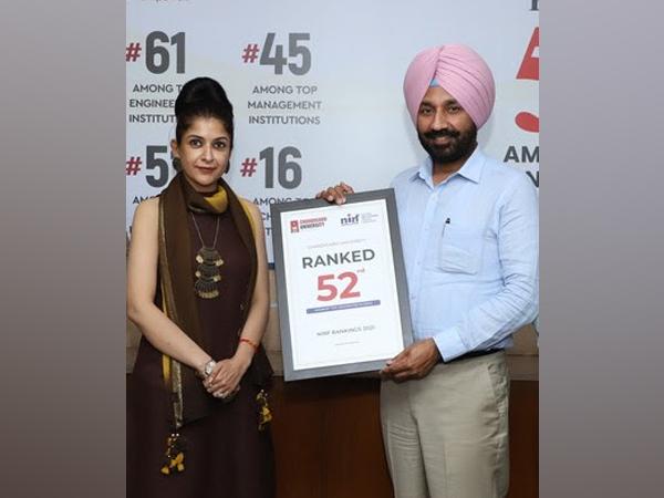Satnam Singh Sandhu, Chancellor Chandigarh University and Prof Himani Sood, Sr Vice-President, Chandigarh University announcing the ranking of University in NIRF Rankings 2021