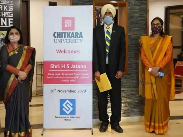Pro-Chancellor Dr Madhu Chitkara, Vice-Chancellor Archana Mantri, and H S Jatana, the Group Head, design and process group, Semi-conductor laboratory (SCL), Mohali