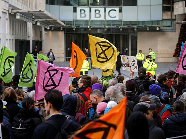 BBC in London put on lockdown over climate change protest by Extinction Rebellion