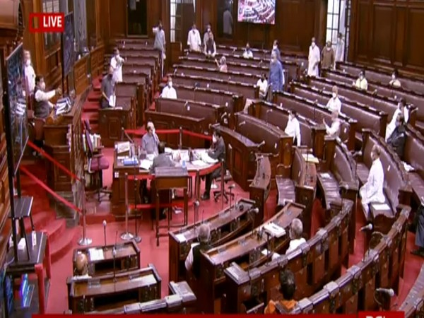 Visuals from the Rajya Sabha during discussion on agriculture bills on Sunday. (Photo/ANI)
