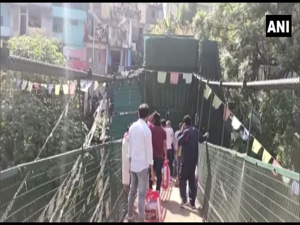 International Suspension Bridge at Dharchula opened for Nepali nationals for 5 hours on Wednesday. (Photo/ANI)
