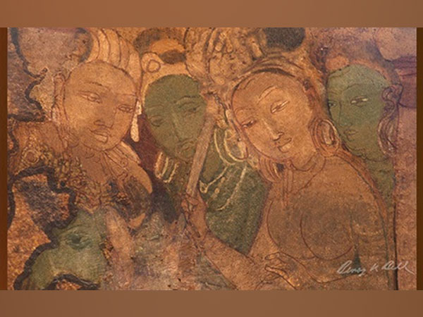 Section of the Earliest Surviving Hindu Painting Photographed and Digitally Restored by Benoy K Behl, Copyright with Sapio Analytics and Benoy K Behl