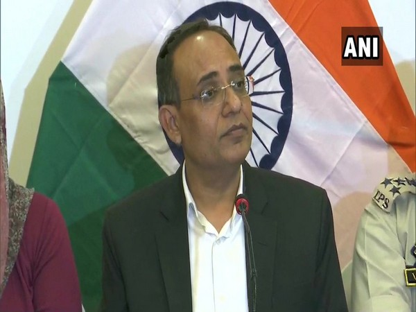 Jammu and Kashmir Principal Secretary, Rohit Kansal, addressing a press conference in Srinagar on Monday. Photo/ANI