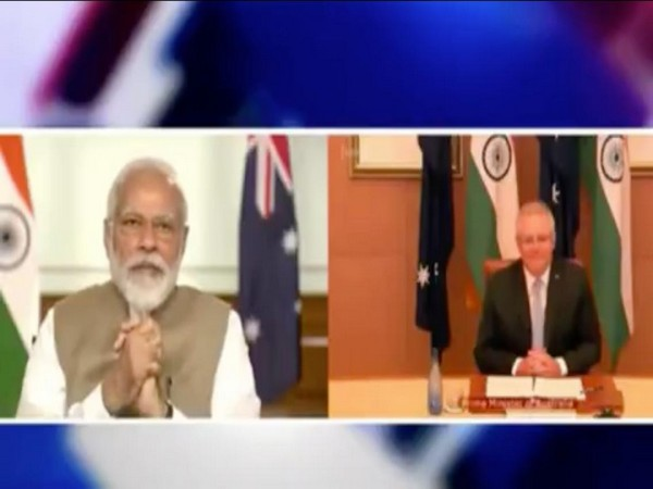Indian PM Modi(left) and Australian PM Morrison(right) in the summit