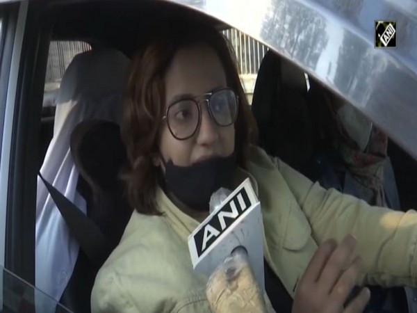 A participant from the car rally organised to raise awareness against drug abuse in Srinagar on Sunday. (Photo/ANI)
