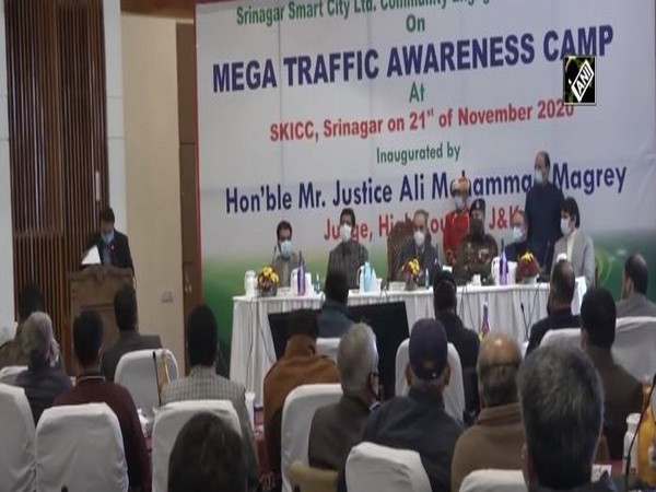 At the mega traffic awareness camp in Sringar on Saturday. (Photo/ANI)