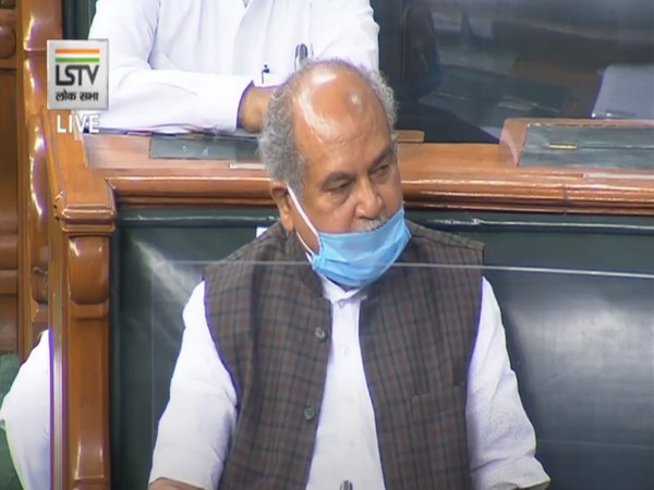 Union Agriculture Minister Narendra Singh Tomar speaking in Lok Sabha on Monday.