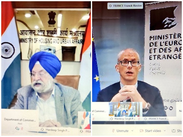 Union Minister for Housing and Urban Affairs Hardeep Singh Puri and French Minister Delegate for Foreign Trade and Economic Attractiveness Franck Riester. (Photo credit: Twitter/India in France)