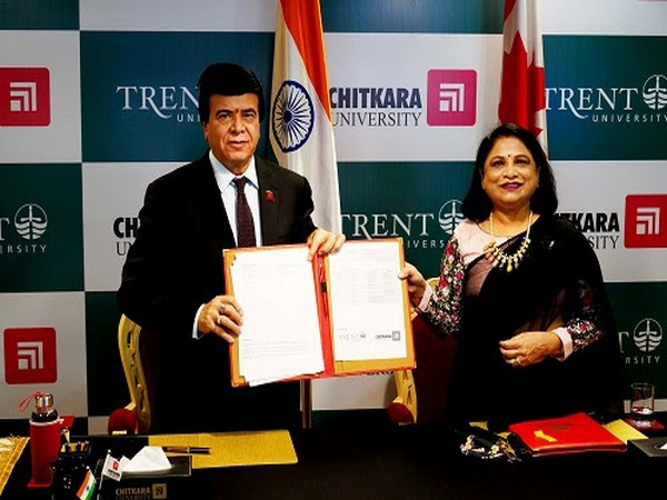 Chitkara University Chancellor, Dr. Ashok K Chitkara & Pro Chancellor Dr. Madhu Chitkara during the virtual ceremony held for signing the agreement with Trent University