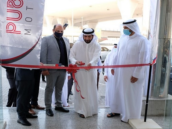 Ibrahim Al Sadah, Head & Managing Partner, Public Motors, Ahmad Al Sadah and Amit Manawa, TVS Motor Company at the Inauguration Ceremony