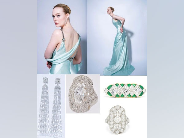 Elle Fanning Wears Fred Leighton jewellery set in Platinum to the Golden Globe Awards