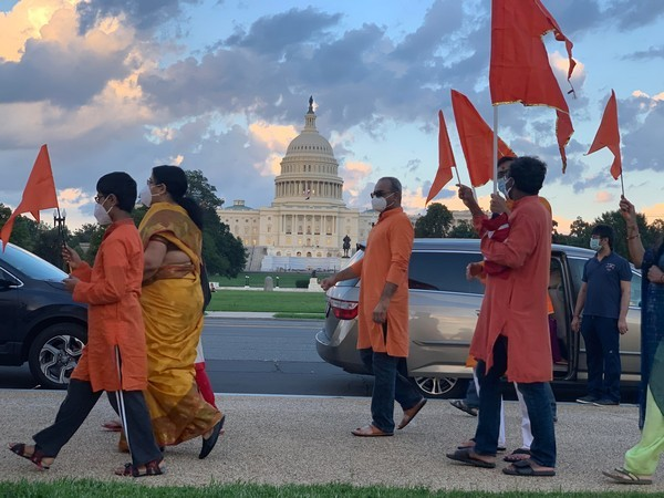 People of Indian heritage from in and around Washington DC gathered outside the Capitol Hill to celebrate Ayodhya's bhoomi pujan ceremony. (Photo/ANI)