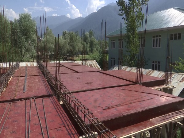 Construction work for the girls hostel in Ganderbal. (Photo/ANI)