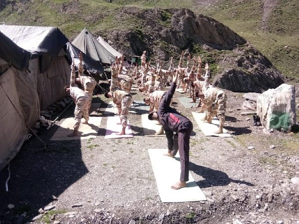 ITBP personnel practice Yoga on Amarnath Yatra route in Baltal