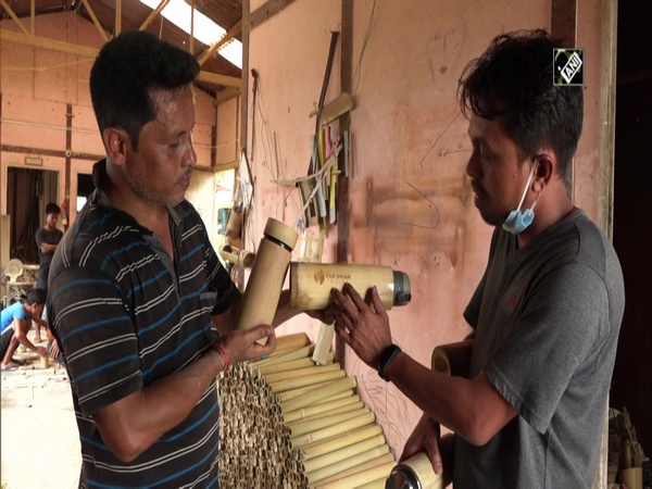 Handcrafted bamboo bottles in Tripura, sustainable alternative to plastic