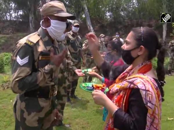 BSF soldiers celebrate Rakshabandhan with locals in Jammu