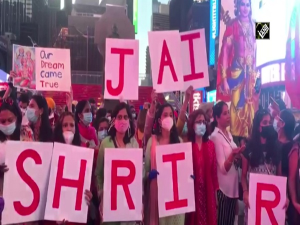 People chant 'Jai Shri Ram' near digital billboard of Ram Mandir at New York's Times Square