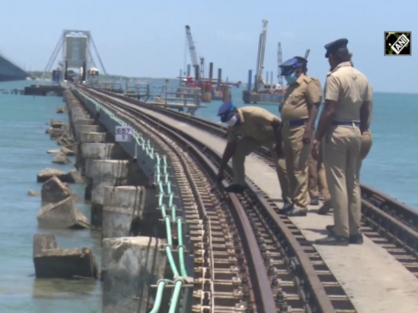 Police inspects Pamban Bridge railway tracks in Rameswaram ahead of Independence Day