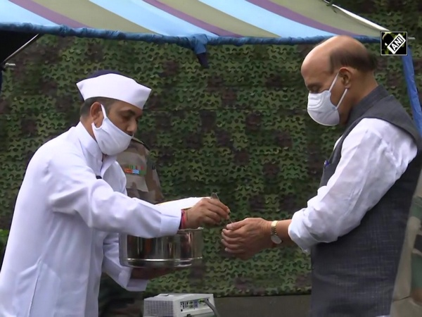 Rajnath Singh performs 'Shastra Puja' at Sukna War Memorial