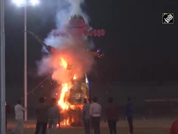 Watch: Ravana effigy burns in Noida, to mark win of good over evil