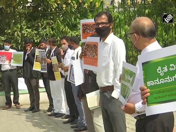 Lawyers protest in front of Bangalore City Civil Court against Centre's farm laws
