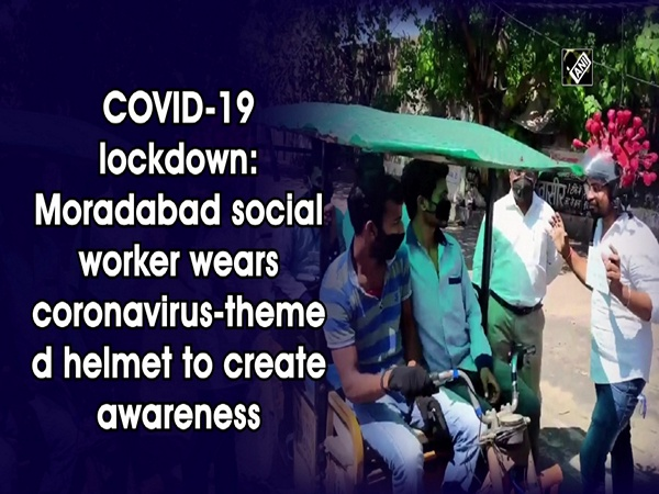 COVID-19 lockdown: Moradabad social worker wears coronavirus-themed helmet to create awareness