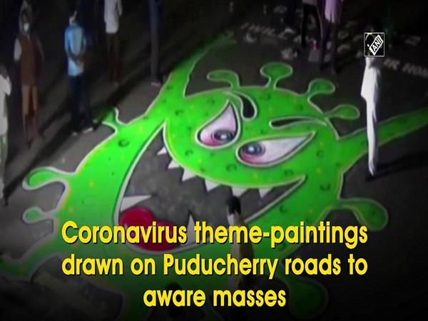 Coronavirus theme-paintings drawn on Puducherry roads to aware masses