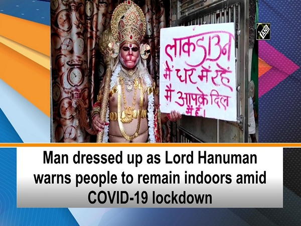 Man dressed up as Lord Hanuman warns people to remain indoors amid COVID-19 lockdown