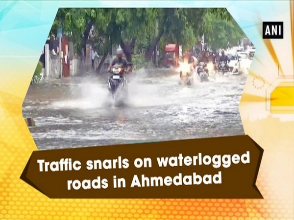 Traffic snarls on waterlogged roads in Ahmedabad