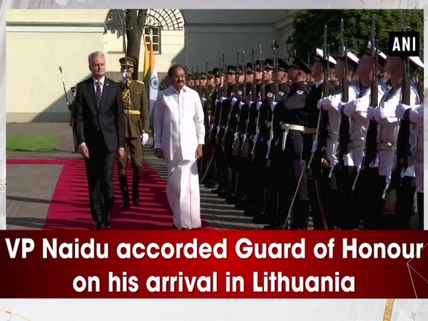 VP Naidu accorded Guard of Honour on his arrival in Lithuania