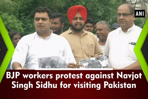 BJP workers protest against Navjot Singh Sidhu for visiting Pakistan