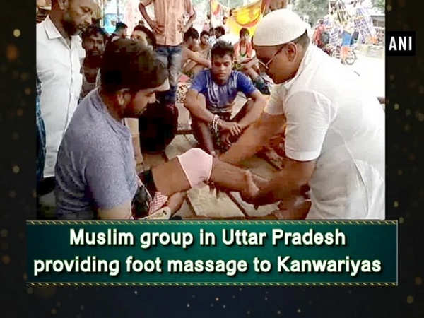 Muslim group in Uttar Pradesh providing foot massage to Kanwariyas