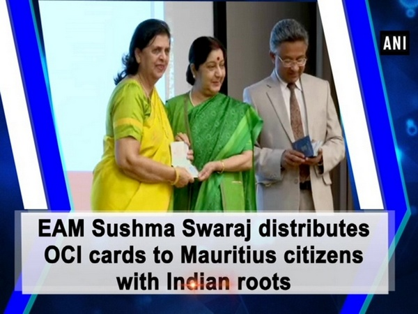 EAM Sushma Swaraj distributes OCI cards to Mauritius citizens with Indian roots