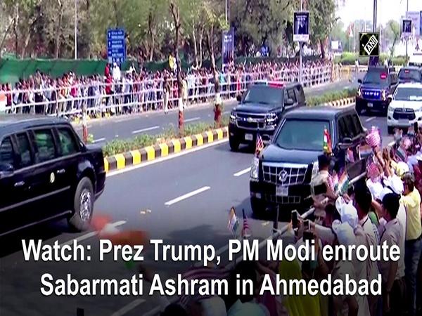 Watch: Prez Trump, PM Modi enroute Sabarmati Ashram in Ahmedabad