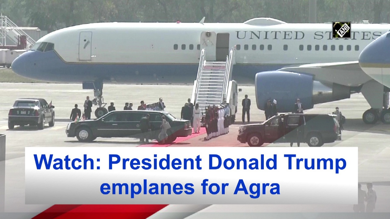 Watch: President Donald Trump emplanes for Agra