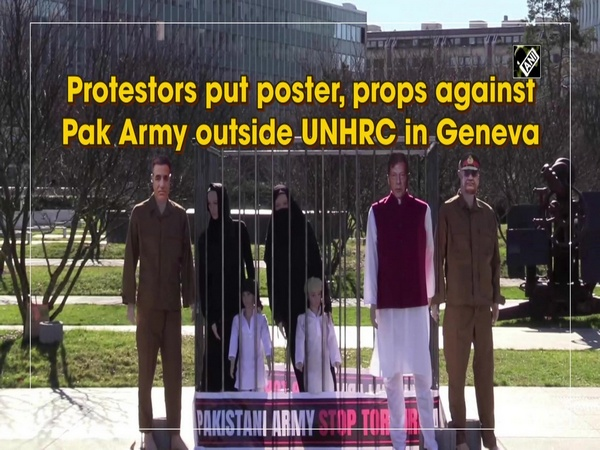 Protestors put poster, props against Pak Army outside UNHRC in Geneva