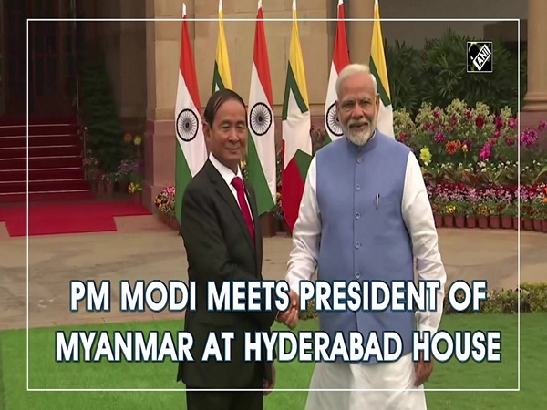 PM Modi meets President of Myanmar at Hyderabad House