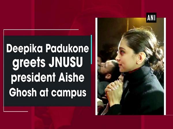 Deepika Padukone greets JNUSU president Aishe Ghosh at campus