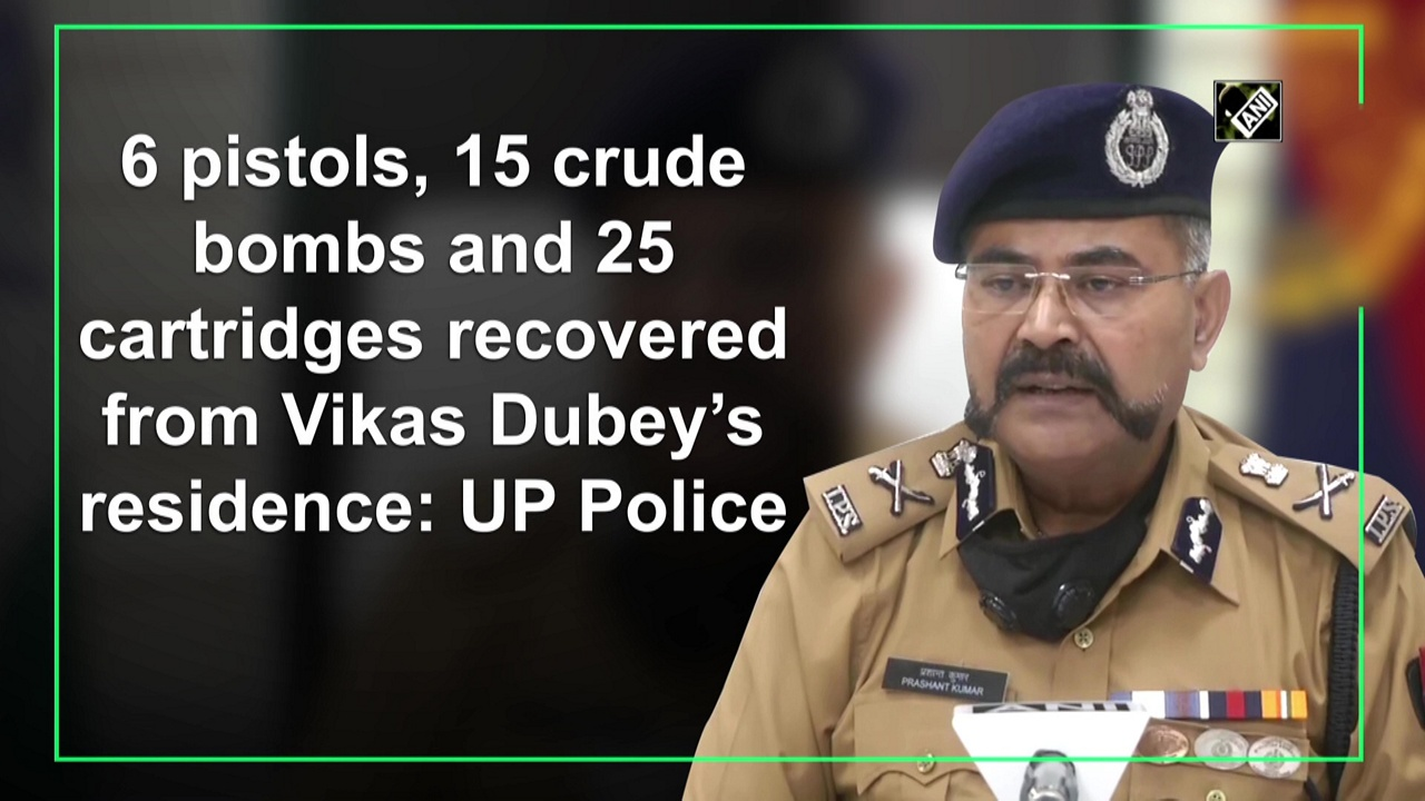 6 pistols, 15 crude bombs and 25 cartridges recovered from Vikas Dubey's residence: UP Police