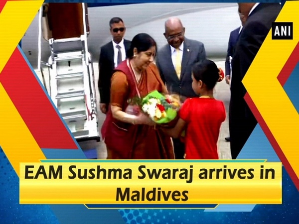 EAM Sushma Swaraj arrives in Maldives