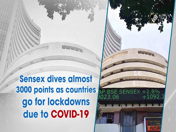 Sensex dives almost 3000 points as countries go for lockdowns due to COVID-19