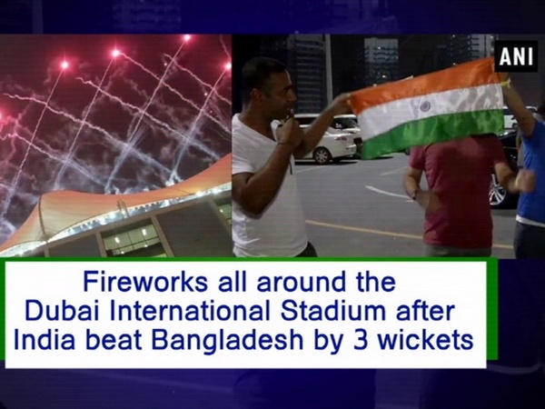 Fireworks all around the Dubai International  Stadium after India beat Bangladesh by 3 wickets